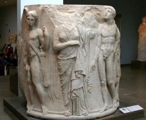 Part of a pillar from the temple of Artemis, found today in the British Museum, London