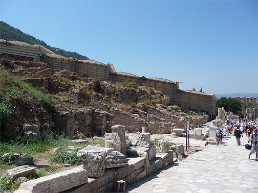 Side view of the Terraces Houses from Curetes Street
