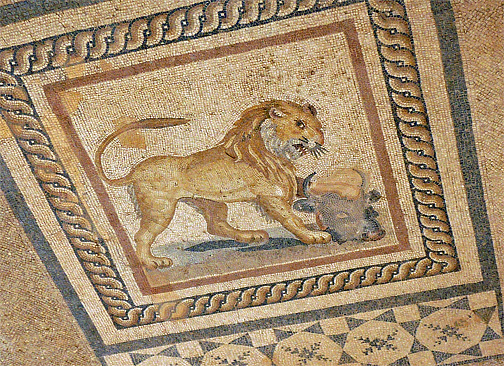 A mosaic of a lion on one of the floors of the Terraces houses